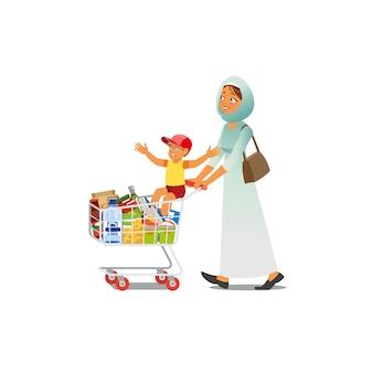 Mãe às compras com vetor de desenhos animados de filho pequeno