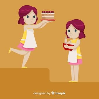 Mãe, assando, um, bolo, cobrança
