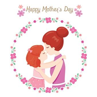 Mãe beijando na testa da filha, feliz dia das mães