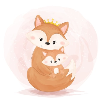 Mãe bonita e bebê raposa ilustração em estilo aquarela