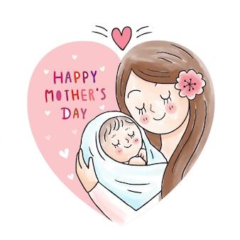 Mãe bonito dos desenhos animados, abraçando o bebê na moldura do coração
