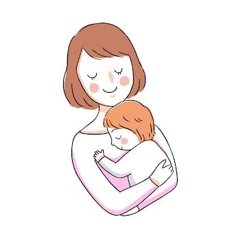 Mãe bonito dos desenhos animados e bebê abraçando