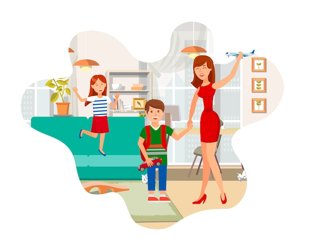 Mãe brincando com ilustração plana de crianças
