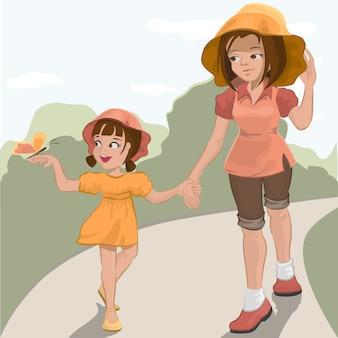 Mãe caminha com a filha no parque