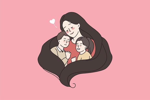 Mãe carinhosa abraça dois filhos pequenos demonstre amor