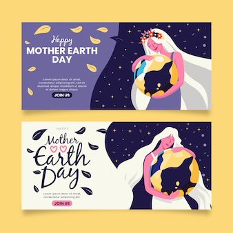 Mãe carregando a terra como seu banner de criança