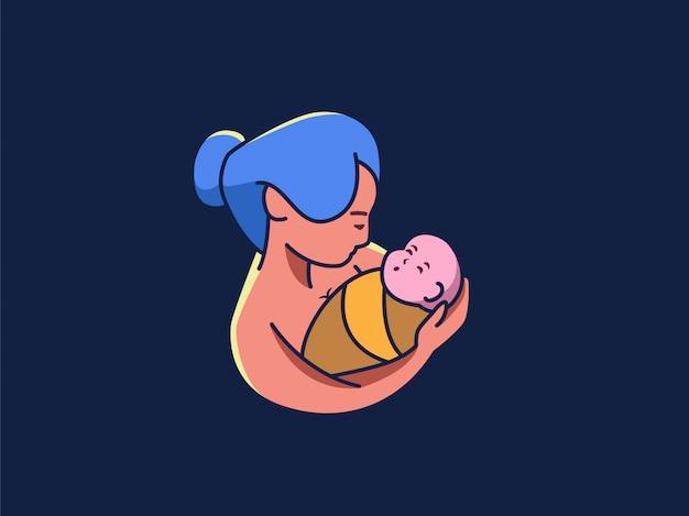 Mãe, carregar, dela, bebê, vetorial, ilustração