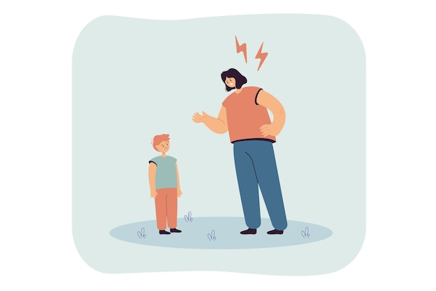 Mãe censurando ilustração plana de criança chateada