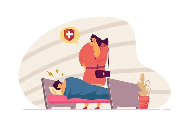 Mãe chamando ambulância para filho doente. criança com dor de cabeça deitada na cama, mulher falando na ilustração vetorial plana de telefone. família, parentalidade, conceito de saúde para banner, design de site ou página de destino