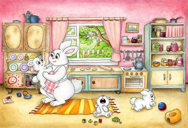 Mãe coelha na cozinha com os filhos