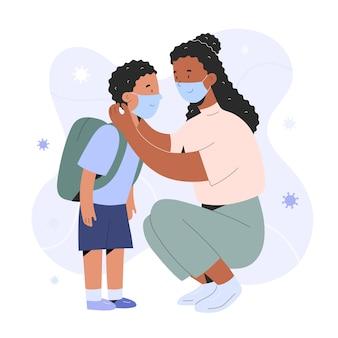 Mãe colocando uma máscara de cirurgião em seu filho, levando seu filho para a escola