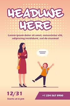 Mãe com as mãos postas ouvindo modelo de panfleto de criança