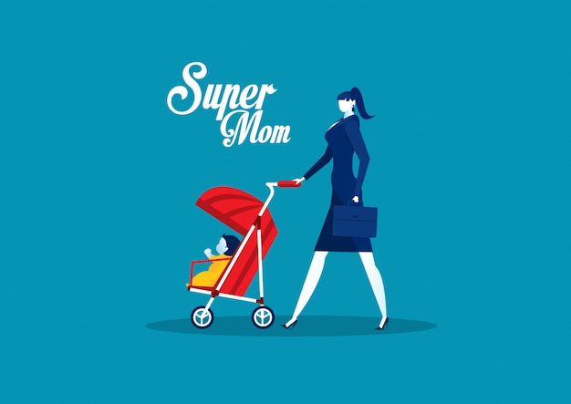 Mãe com carrinho de bebê, mãe dia super mãe conceito vetor.