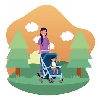 Mãe, com, carruagem bebê