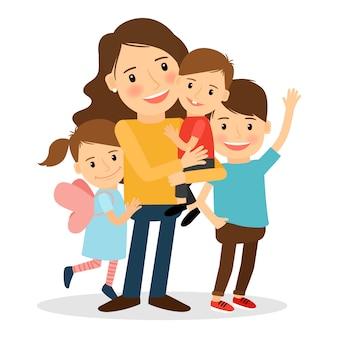 Mãe com crianças