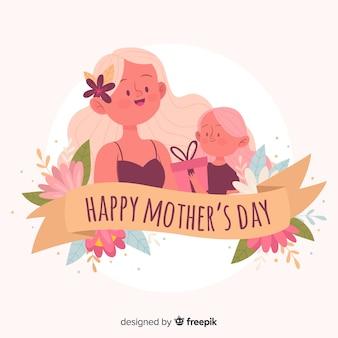 Mãe, com, dela, filha, mãe, dia, fundo