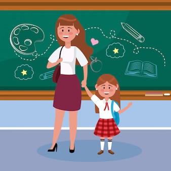 Mãe, com, dela, menina, estudante, com, mochila, e, quadro-negro