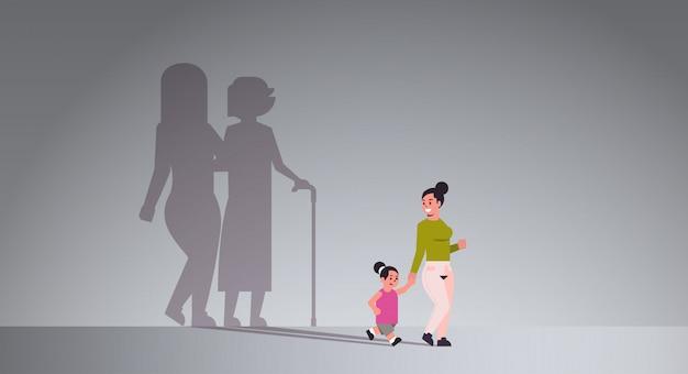 Mãe com filha de mãos dadas
