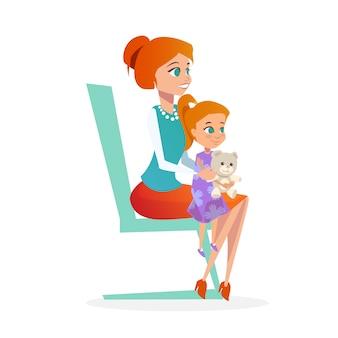 Mãe com filha em consulta de pediatra.