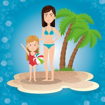 Mãe com filha na praia