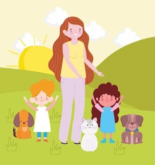 Mãe com filho, filha, animais de estimação