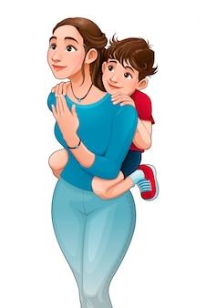 Mãe, com, filho, ligado, dela, costas