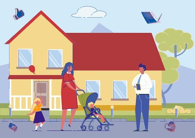 Mãe com filhos comprando casa nova no subúrbio