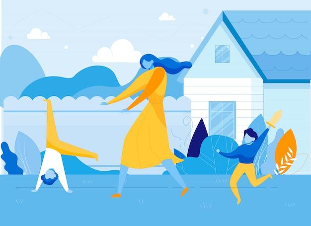 Mãe com filhos hiperativos no quintal.