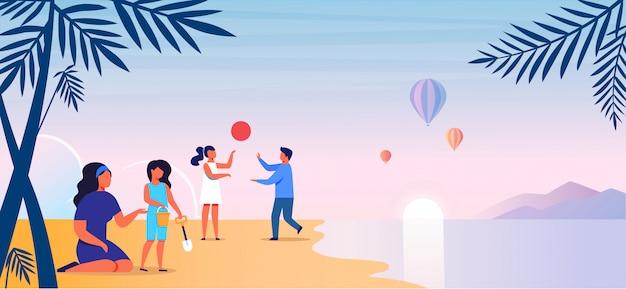Mãe com filhos na ilustração vetorial de praia