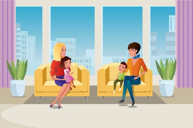 Mãe com filhos, visitando o vetor de psicólogo