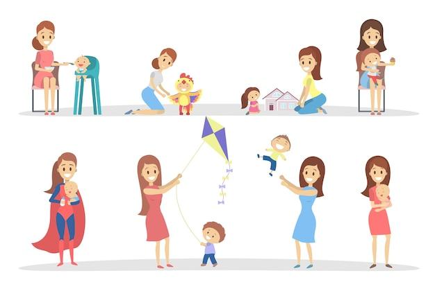 Mãe com filhos. Vetor Premium