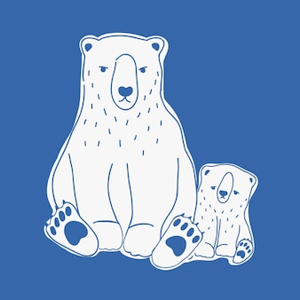 Mãe com raiva e triste bebê ursos polares mão desenhada com linhas de contorno em fundo azul.