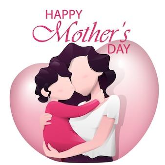 Mãe com seu bebê nos braços para o dia das mães. Vetor Premium