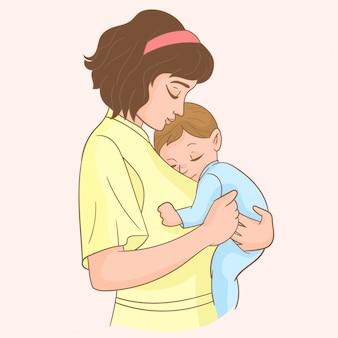 Mãe, com, seu, pequeno, bebê