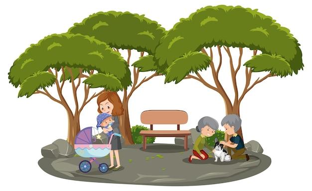 Mãe com seus filhos no parque