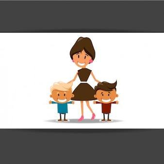 Mãe com seus filhos