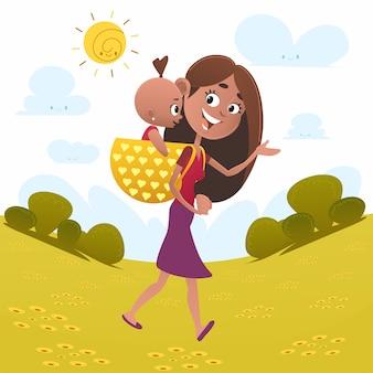 Mãe com sua ilustração de bebê menina, personagem de desenho animado.