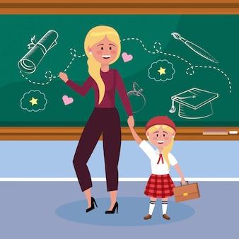 Mãe com suas alunas e mala e uniforme