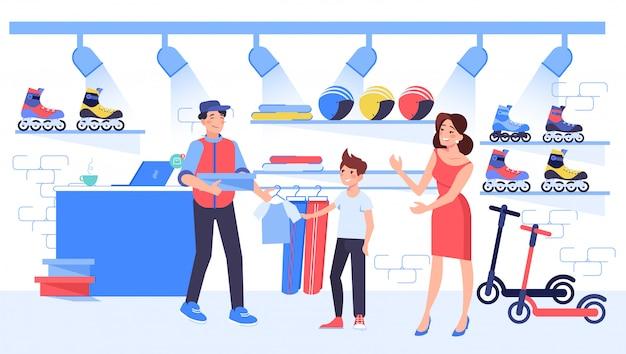 Mãe comprar roupas esportivas para o filho criança na loja de desporto