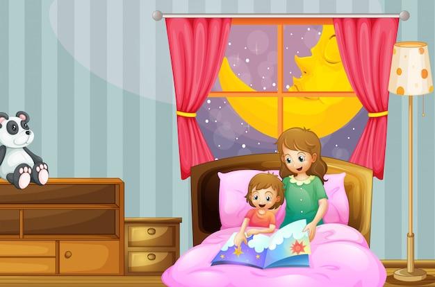 Mãe, contar, adormecida, história, à noite