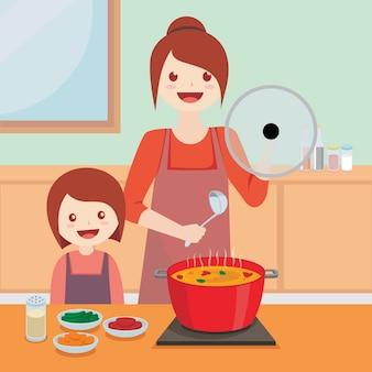 Mãe criança, cozinhar, junto, ilustração