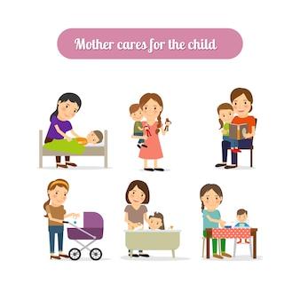 Mãe cuida de conjunto de caracteres de criança
