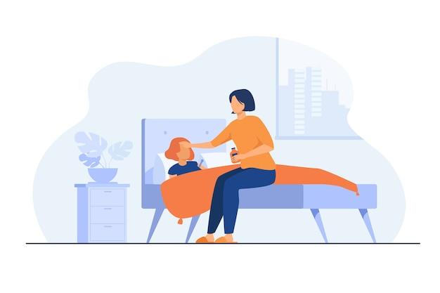 Mãe cuidando de criança doente. menina ficando resfriada, sofrendo de gripe, deitada na cama com dor de garganta e febre. ilustração vetorial para creche, maternidade, conceito de epidemia