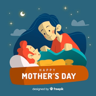 Mãe, cuidando, dela, criança, mãe, dia, fundo