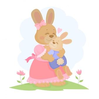 Mãe de coelho com coelhinho