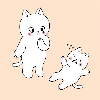 Mãe de corte dos desenhos animados e gato triste bebê