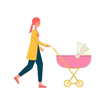 Mãe de desenho animado caminhando e empurrando um carrinho de bebê rosa isolado no fundo branco