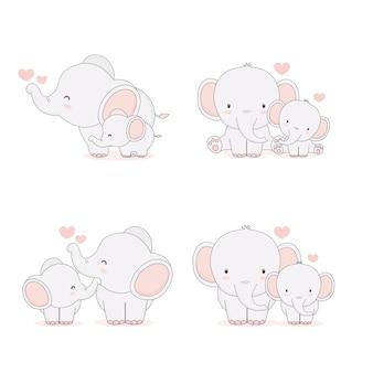 Mãe de elefante e bebê. ilustração vetorial