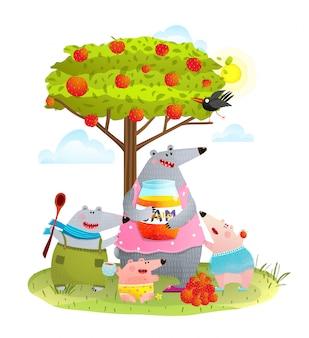 Mãe de família urso com crianças comendo geléia de maçã