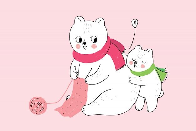 Mãe de inverno bonito dos desenhos animados e bebê abraçando